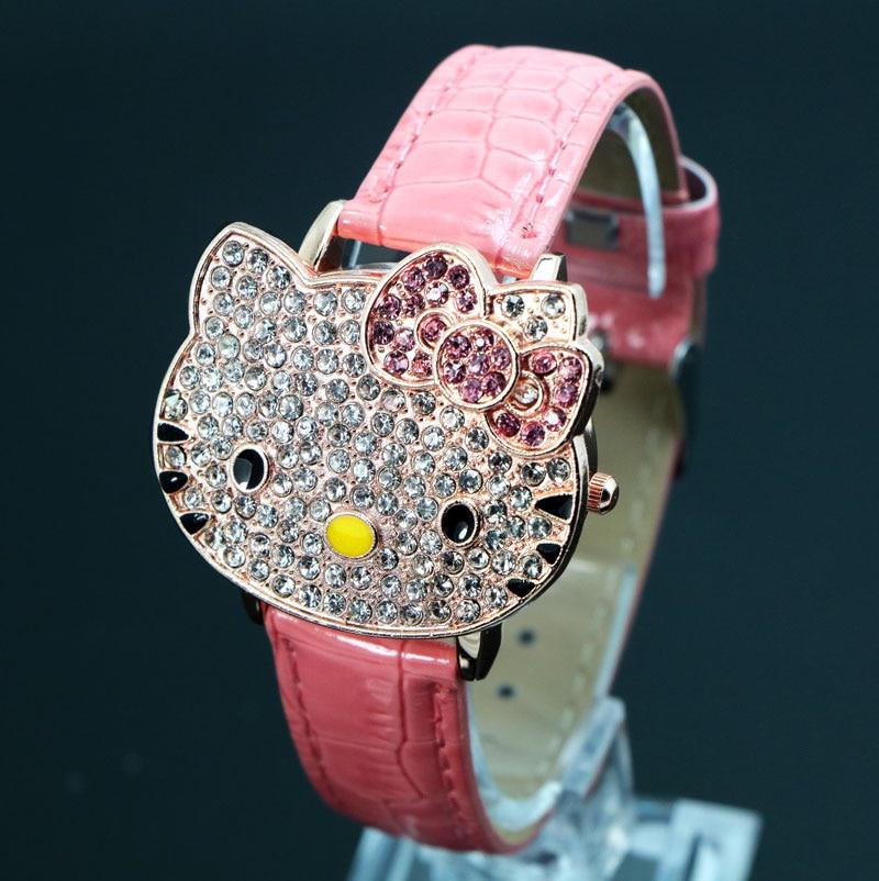 Hot Penjualan Indah Hello Kitty Perhiasan Anak Gadis Wanita Kristal Gaun Quartz Jam Tangan Montre Enfant 048-27 Pink