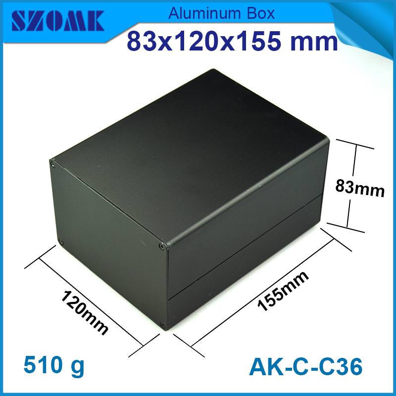 1 piece free shipping Black color aluminum housing case for electronics project case 83(H)x120(W)x155(L) mm 1 piece free shipping powder coating aluminium junction housing box for waterproof router case 81 h x126 w x196 l mm