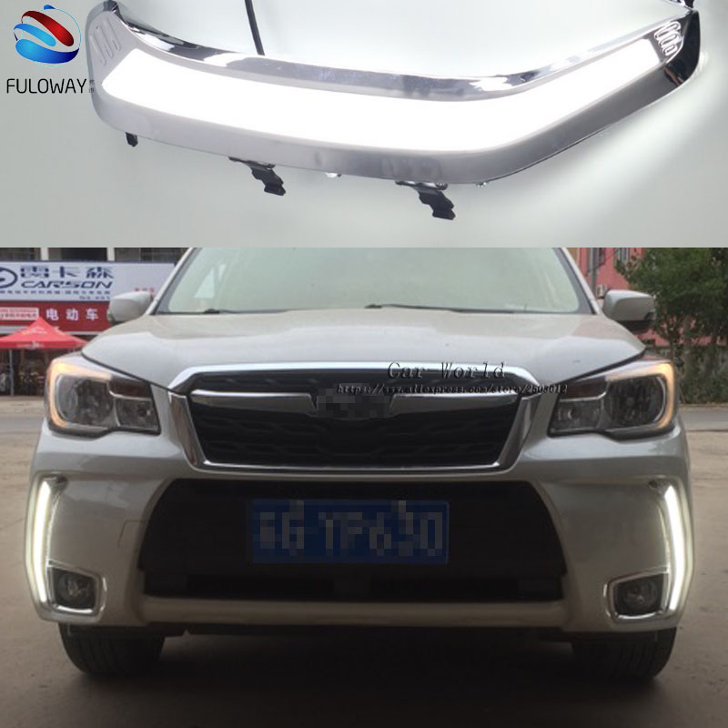 LED DRL Daytime Running Lights Fog Lamp Case For Subaru Forester 2013 - 2015 2016 External Day Light DRL Accessories Car-styling akd car styling led drl for toyota reiz 2012 2013 mark x eye brow light led external lamp signal parking accessories