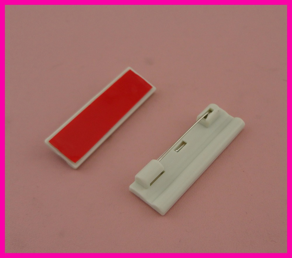 50PCS 1.2cm*4.0cm Adhesive Rectangle Gray plain plastic pin backs suitable to brooches badge,plastic safety pins for name cards