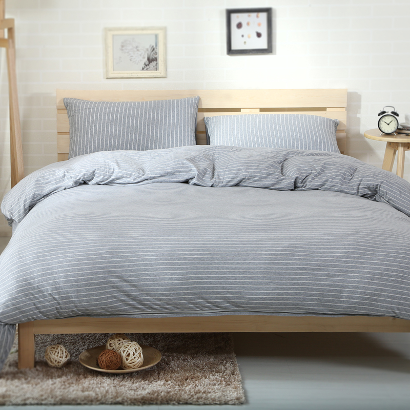 2018 White Lines Grey Duvet Cover Set Knit Cotton Bed Cover Twin Queen King Bedding Sets Flat/Fitted Sheet Pillowcases2018 White Lines Grey Duvet Cover Set Knit Cotton Bed Cover Twin Queen King Bedding Sets Flat/Fitted Sheet Pillowcases