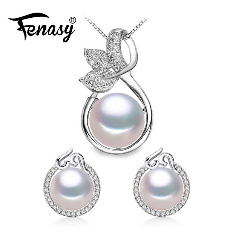 FENASY Pearl Jewelry wedding engagement jewelry sets Natural Pearl pendant Necklace women/leaf pendant cute earrings female