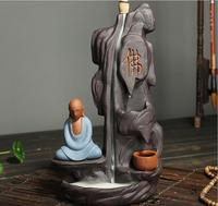 Home Decor Buddhism Incense Burner Rockery Buddha Monk Bullet Blackflow Incense Cones Burner Smoke Ceramic Censer Burner