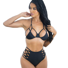 S-xxxl más tamaño bikinis playa mujeres sexy bra top micro traje de Baño Del Vendaje de Talle Alto de Baño Bikini Set Recortable Enjaulado trajes