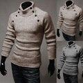 Pullovers blusas de Venda Direta Oferta Especial Botão Personalidade Simetria Completa 2016 Dos Homens Magro Masculino Sólida Camisola Cor Pullover