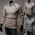 Sweaters Direct Selling Special Offer Pullovers Full 2016 Men Slim Male Personality Button Symmetry Solid Color Pullover Sweater