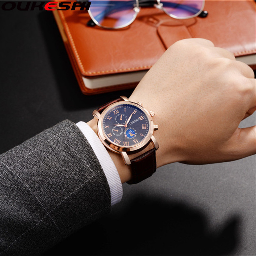 OUKESHI Brand Watch Men Golden Waterproof Watch Relogio Masculino Roman Numerals Casual Business Quartz WristWatch OKS53 oukeshi roman numerals analog business qutaz watch