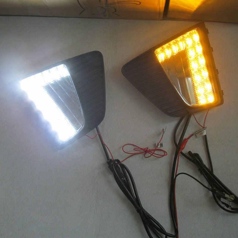 1 زوج LED DRL لشركة هيونداي Creta IX25 2014 2015 2016 LED النهار تشغيل ضوء الضباب DRL مع إشارة دوران الأصفر مصباح