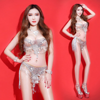 Sexy DS Stage Costumes for Singers Silver Crystals Bodysuit Singer Sparkling Slim Performance Dress Bar DJ Show Party Stage Prom
