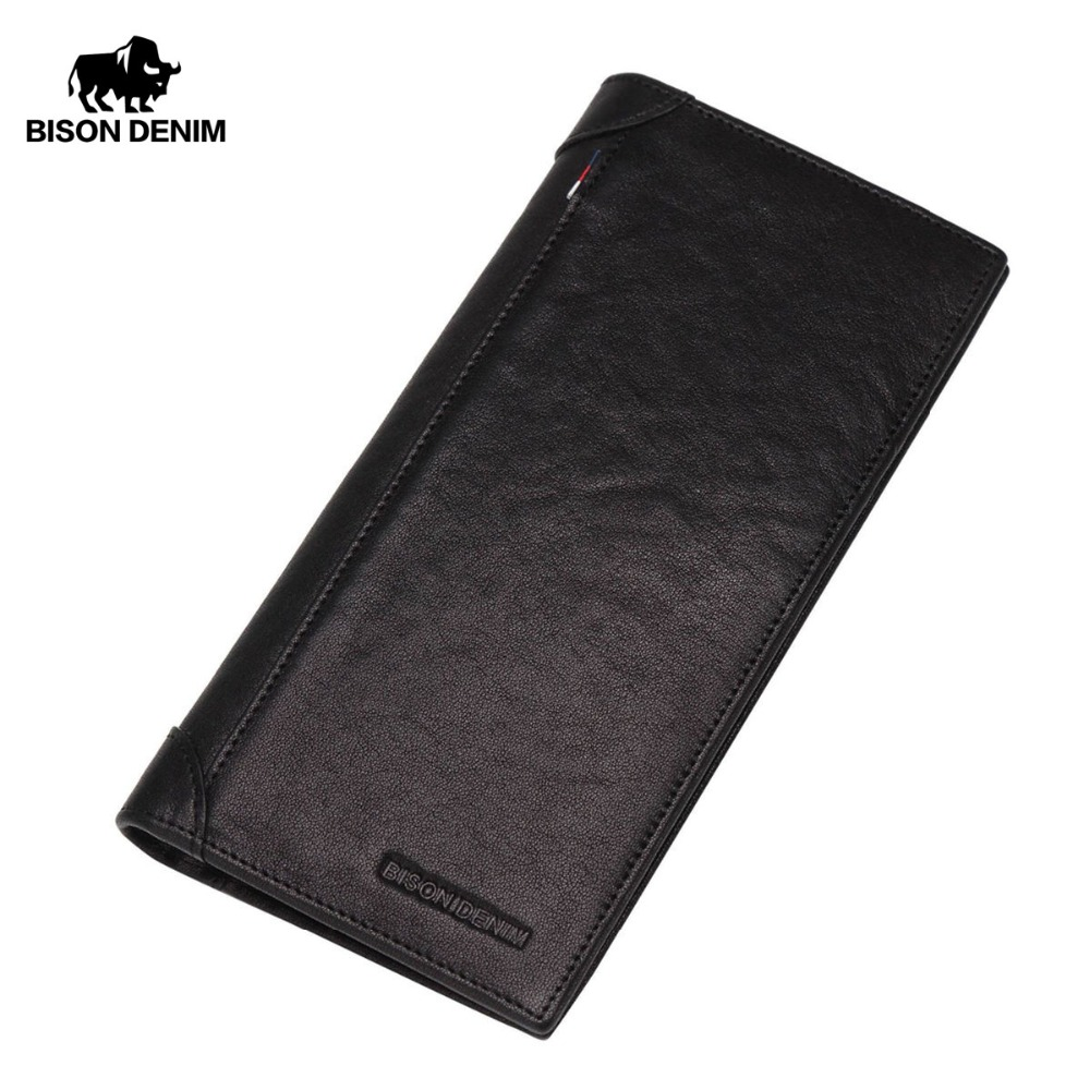 BISON DENIM Wallet Genuine Leather Purse for Men Cow Leather Long Card Holder Wallet carteira masculina Portomonee N4456-1 ivotkova top quality cow genuine leather men wallets fashion splice purse dollar bag price carteira masculina free shipping gift