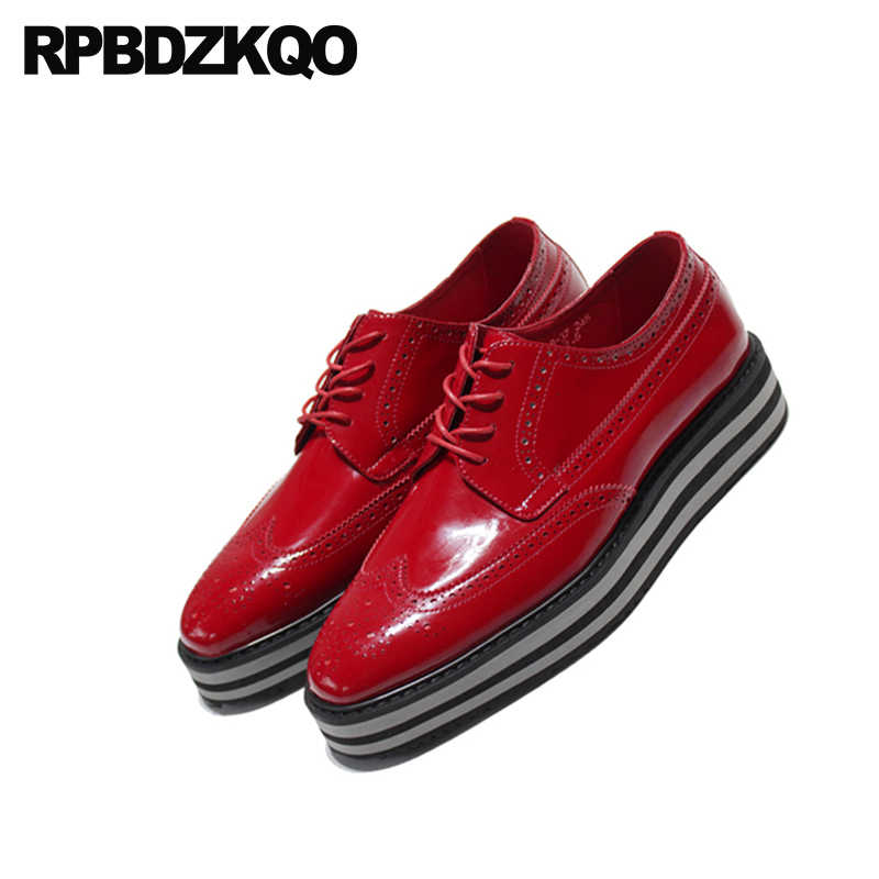 84bf71aa2d345 ... Black Platform Brogue Oxfords Square Toe Creepers Wingtip Party Wedges  Patent Leather Prom Men Italian Shoes