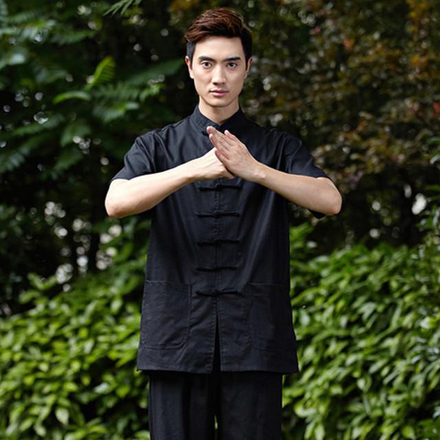Nova Chegada Kung Fu Dos Homens Chineses Kung Fu Camisa de Manga Curta de Algodão camisa de linho wu shu w20 clothing tops m l xl xxl xxxl
