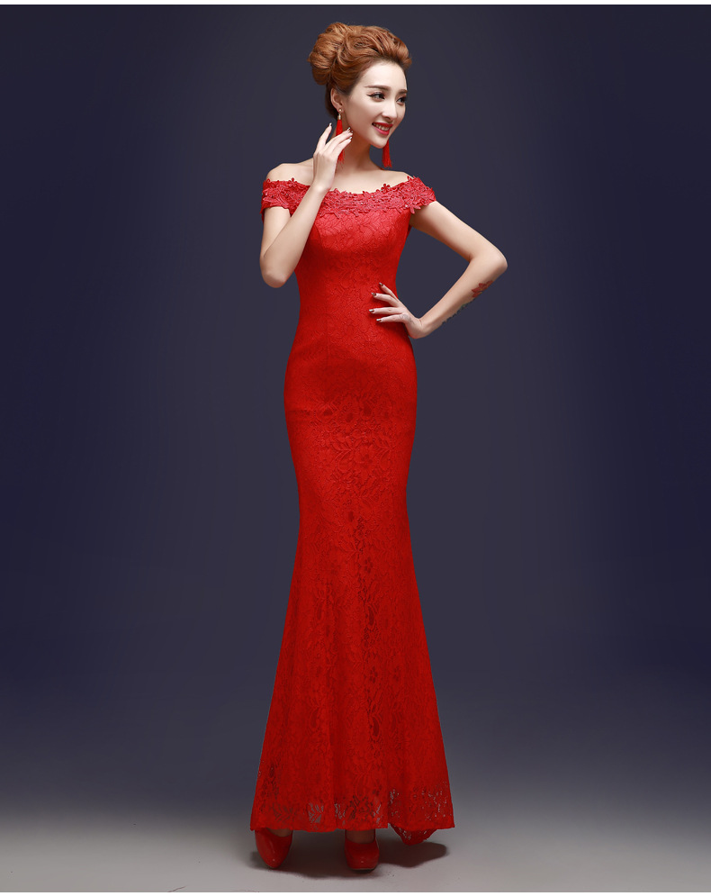 ad3fd2fe1 Red Chinese Traditional Dress Women Silk Satin Cheongsam Long ...
