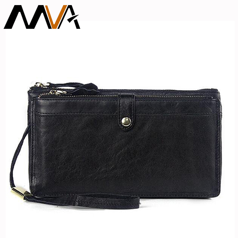 MVA Genuine Leather Wallets Clutch Zipper Long Wallet Casual Men Clutch Bag Leather Men Wallet Male Purse Phone Card Holder feidikabolo brand zipper men wallets with phone bag pu leather clutch wallet large capacity casual long business men s wallets