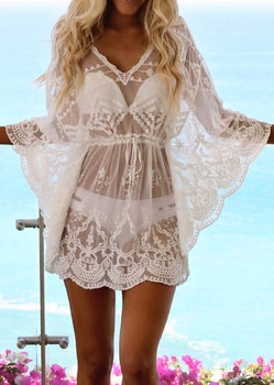 Bikini Cover Up Lace Hollow Solid Swimsuit Beach Dress Women 2019 Summer Ladies Cover-Ups Bathing Suit Beach Wear Tunic