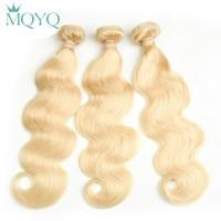 MQYQ Peruvian Wavy Hair Extensions Body Wave Human Hair Bundles 613 Blonde Hair Weaving 3Pcs Honey Blonde Weft
