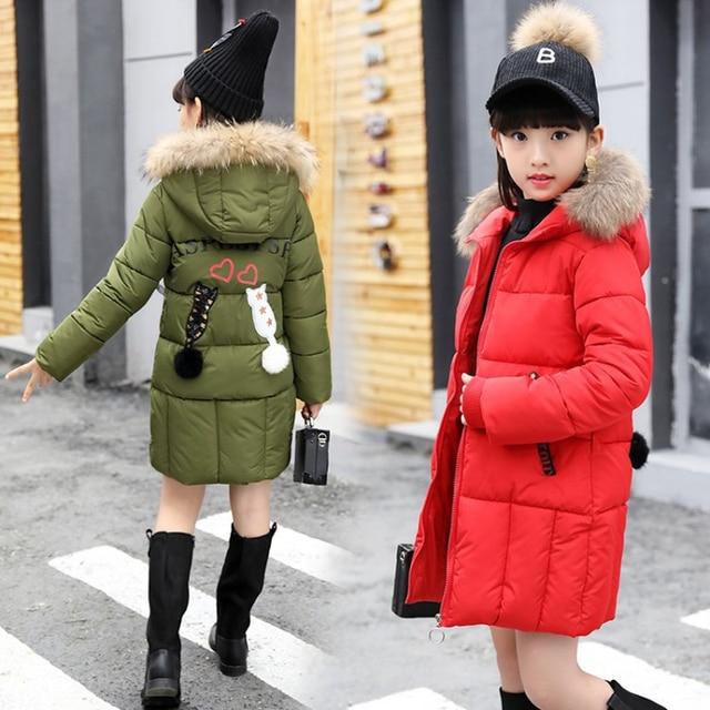 14a50f23545 2018 New Girls Long Padded Jacket Kids Winter Coat Kids Warm Thickening  Hooded Down Coats for Teenage Outwear -30 Winter Coat