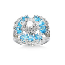 Fashion 925 jewelry Ring With blue white crystal Stones For Women Vintage Crystal Zircon Luxury Party Engagement Jewelry