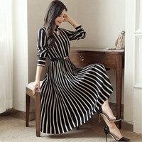 High end new spring and autumn models women's Korean high waist and long dress charm temperament stripe dress