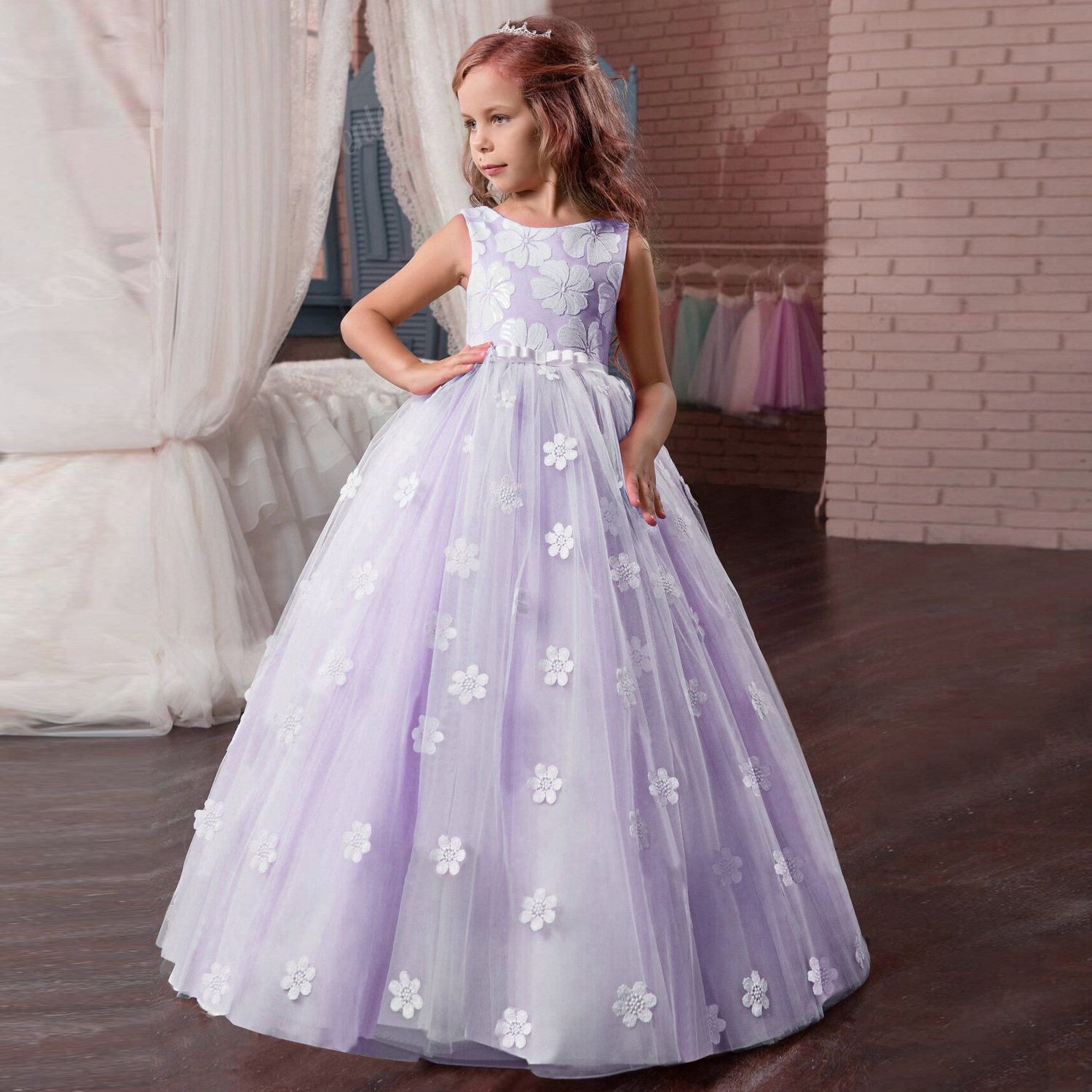 New Flower Girls Dress Children Sleeveless Flower Applique Long Maxi Tulle Dress Girls Party DressNew Flower Girls Dress Children Sleeveless Flower Applique Long Maxi Tulle Dress Girls Party Dress