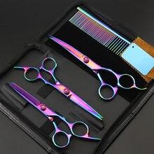 4 kit de aço 4cr 7 polegada dog Pet grooming tesouras tesoura de corte de cabelo cão grooming pente desbaste tesouras do barbeiro tesoura de cabeleireiro conjunto