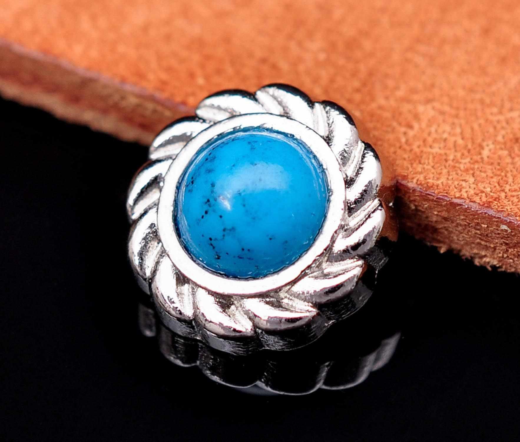 20 шт. 12 мм Серебряная Цветочная Выгравированная Западная Бирюзовая запонка заклепка Concho для кожевенного ремесла ботинок ремень седловая стойка для украшения