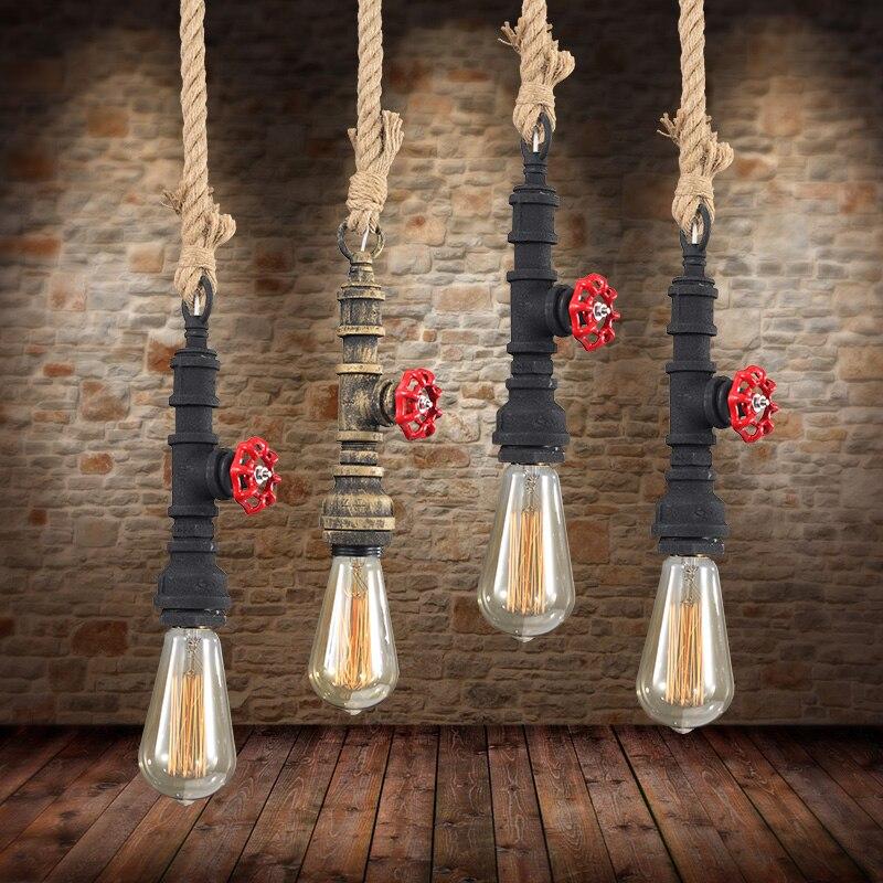 Lampes suspendues rétro d'industrie pour la barre de restaurant accrochant le tuyau d'eau industriel décoratif de Loft 1 têtes accrochant bleu rouge lo1026