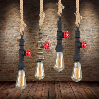 Retro industry Pendant Lights for restaurant bar hanging Loft decorative industrial water pipe 1 heads red blue hanging  lo1026
