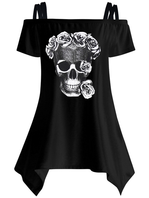 Women Casual Short Sleeeve T-shirts Skull Print T-shirts Off Shoulder Female 2017 Summer Tunic Mujer Women Tops LJ9615E