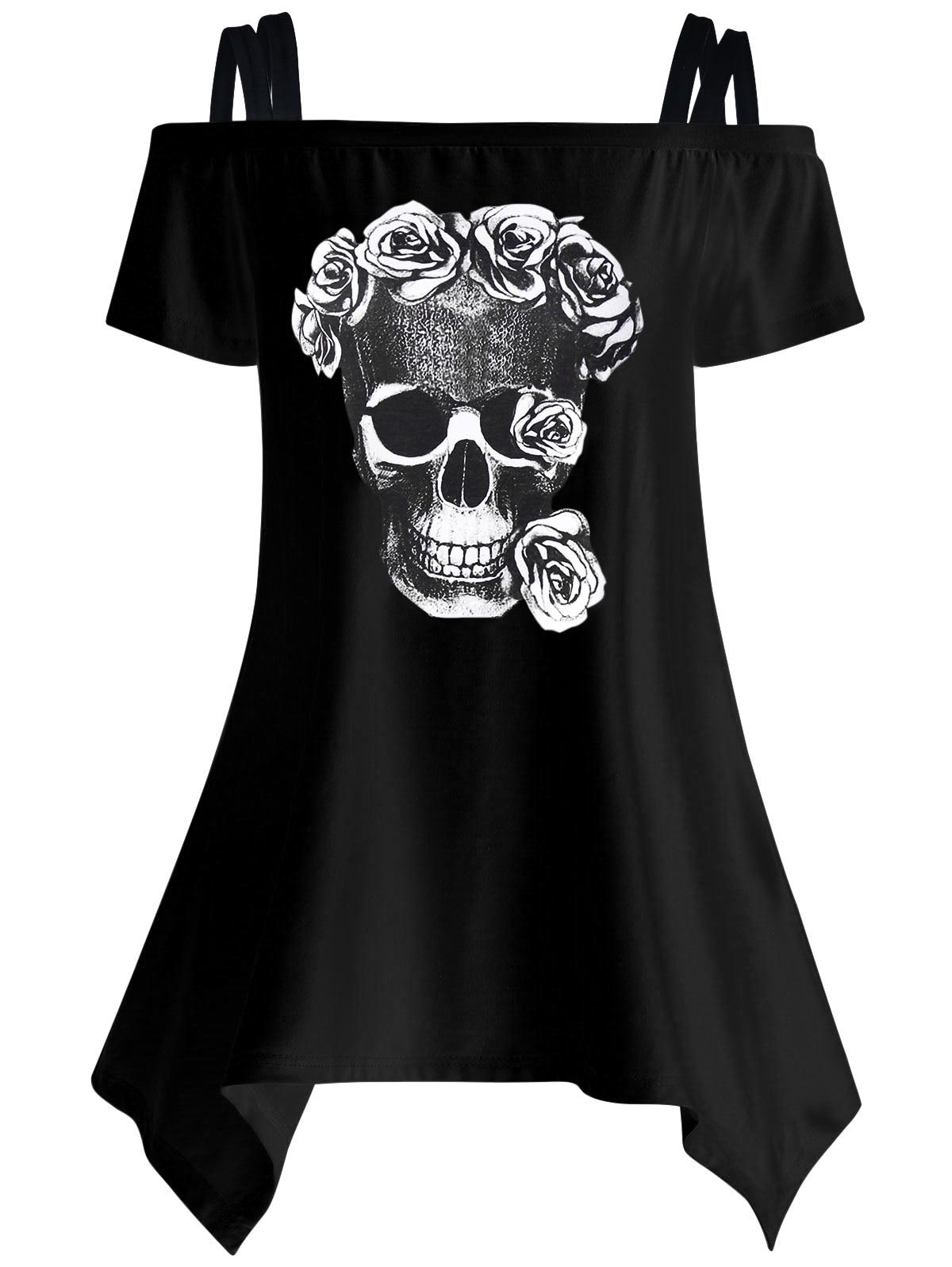 Mujeres Casual manga corta Camisetas Skull imprimir camisetas femeninas del hombro 2017 verano túnica Mujer Tops LJ9615E