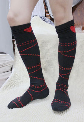2016 12pcs Male knee-high socks red black straps of love male cotton socks male thickening stockings male