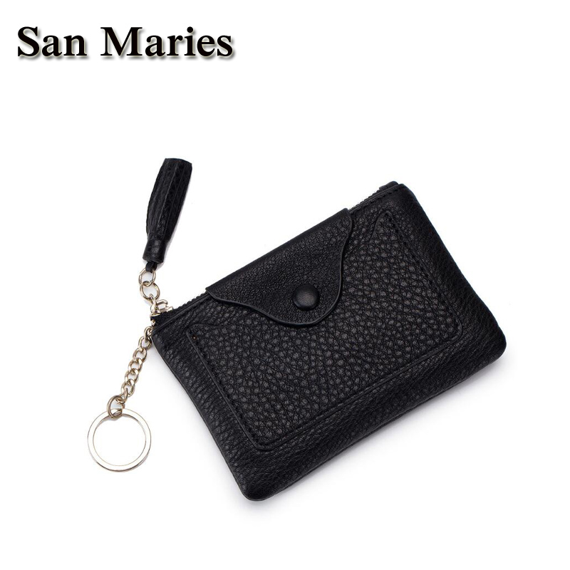 San Maries Women Cow Leather Small Wallet Card Holder Zip Coin Purse Clutch Handbag Key Ring Dropshipping