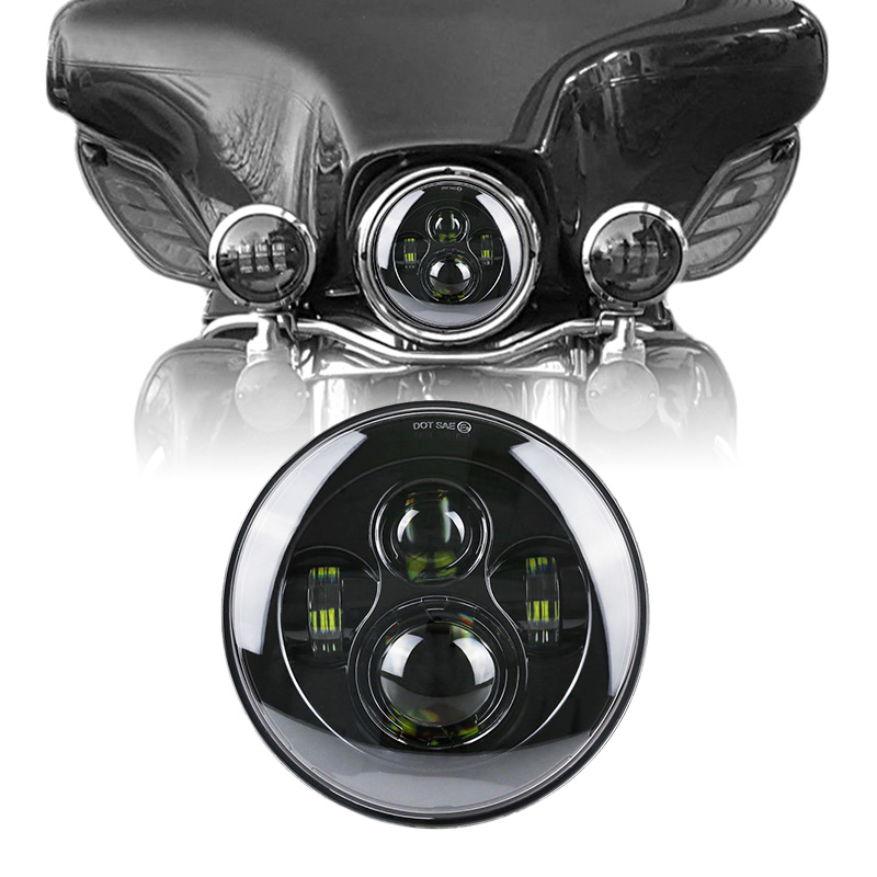 4 lens Projector 7 LED Headlight For Harley Davidson Motorcycle Projector Daymaker HID L ...