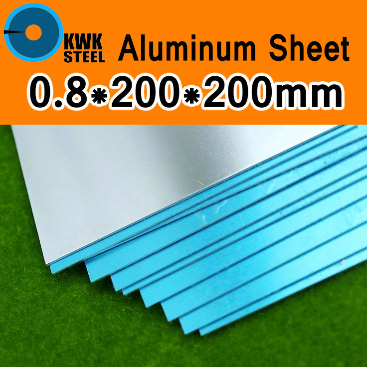 0.8*200*200mm Aluminum 1060 Sheet Pure Aluminium Plate DIY Material For Model Vehicles Boat Construction Frame Metal Soft Easy