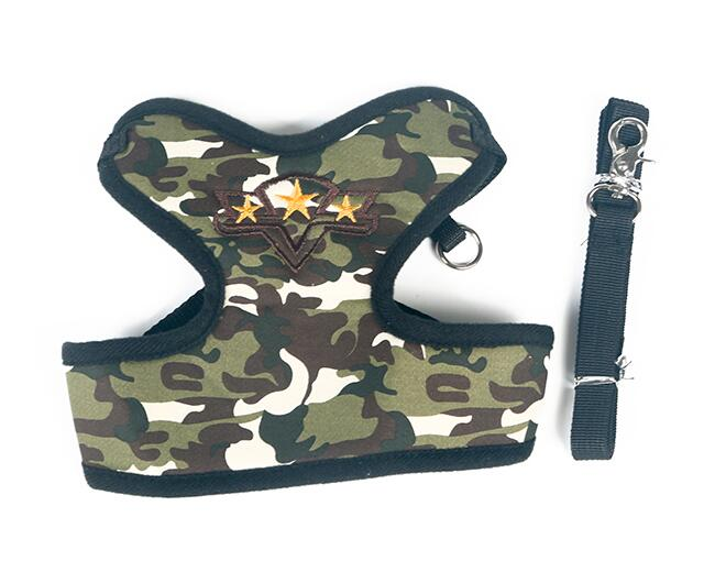 New arrival dogs cats fashion camouflage harness leash suit doggy harnesses lead sets pets accessories S M L 1pcs