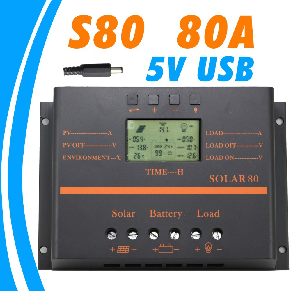 80A Solar Controller 5V USB charger for mobile phone 12V 24V PV panel Battery Charge Controller Solar system Home indoor use tuv portable solar panel 12v 50w solar battery charger car caravan camping solar light lamp phone charger factory price