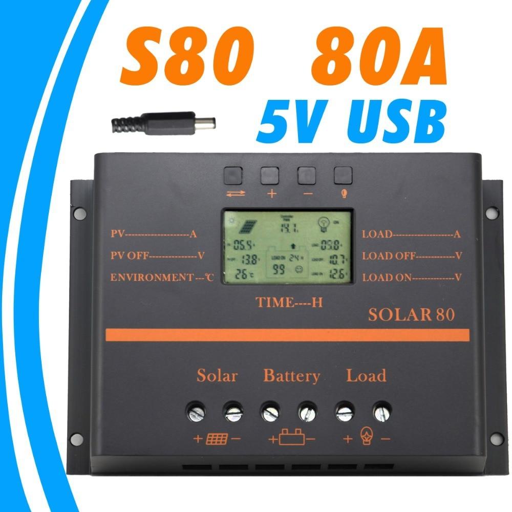 80A contrôleur solaire 12 V 24 V LCD 5 V USB chargeur pour téléphone portable PV panneau batterie contrôleur de Charge système solaire usage domestique intérieur