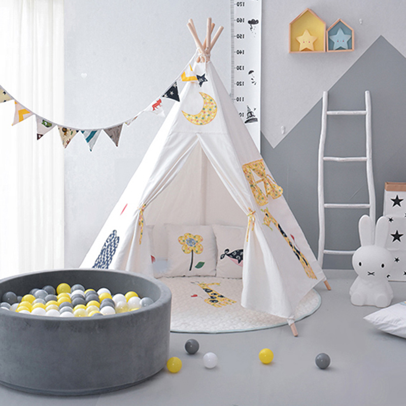 Five Poles Indian Play Tent Cotton Canvas Children Teepee Kids Tipi Tent Play House for Baby Room