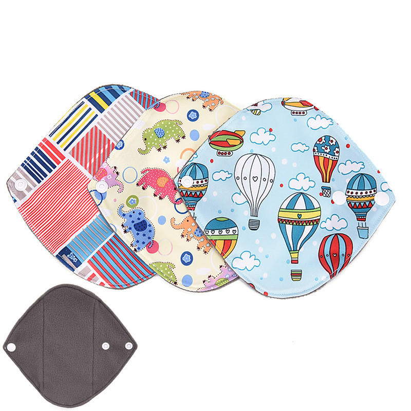 Menstruation Postpartum Hygiene Panty Liner Pad Print Catoon Reusable Sanitary Pads Menstrual Pad Washable Bamboo Charcoal Cloth