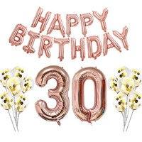 1 zestaw 30th Różowe złoto balon balon 32 inchAluminum + 12 calowy lateksowy balon + 16 inch folii aluminiowej banner rocznica Urodzin część