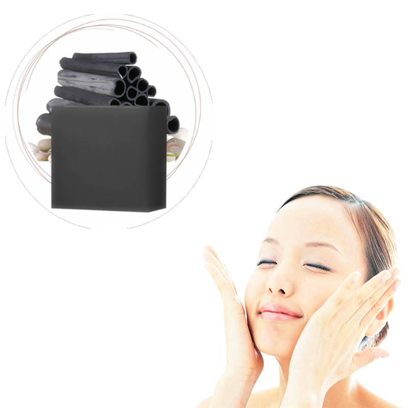 1Pcs Nature Bamboo Charcoal Soap Oil-control Acne Treatment Blackhead Remover Soap Whitening Cleanser Chinese Traditional Herbal