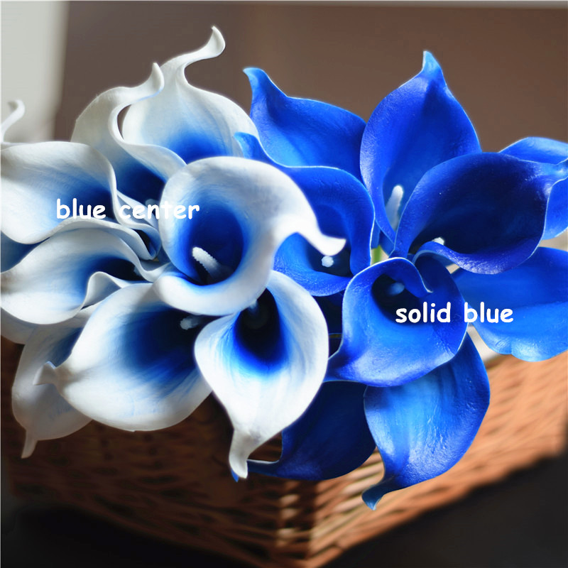 Calla Lily Bridal Wedding Bouquet 20 Pcs Lataex Artificial Flowers Light Blue US