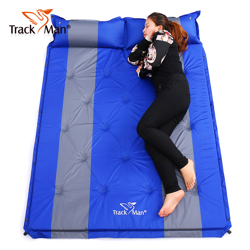 192*132cm <font><b>on</b></font> sale brand new Trackman 2 persons PVC automatic inflatable mattress cushion outdoor camping mat moisture pad