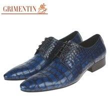 GRIMENTIN elegant luxury men's shoes genuine leather casual shoes crocodile mens dress shoes men flats for office wedding