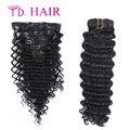 1 7 / 8 pcs grampo em extensões de cabelo humano 14 - 26 polegada profunda curly virgem cabelo 6A não transformados virgem cabelo preto natural