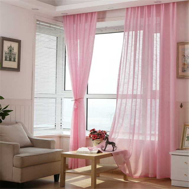 sheer cafe curtains for living room flooring kitchen linen customized multicolor thicken window ...