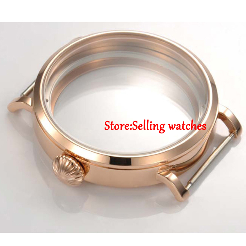46mm Parnis Rose Gold   CASE fit eta 6498 6497 hand winding eat movement | Repair Tools & Kits