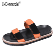 summer anti-skid beach leisure fashion mens sandals slippers breathable real leather fender men genuine