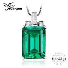 JewelryPalace 6.51ct Nano Ruso Esmeralda Colgante de Esmeralda de Corte de Alta Calidad Sólido 925 Sterling Silver Vintage Set Estrenar