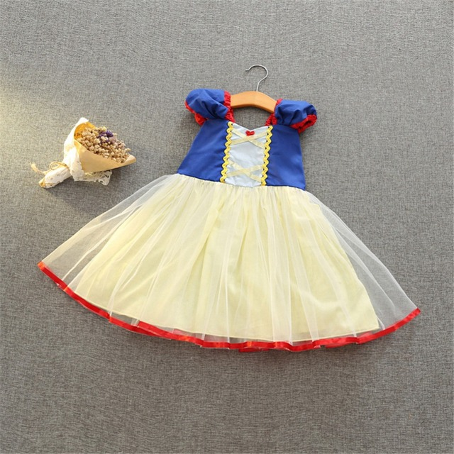 9e3a768d54f65 US $10.95 44% OFF|Snow White Dress Girls Summer Princess Costume Cartoon  Kids Party Dress Cute Puff Sleeve Girls Birthday Clothes Bow Evening  Gown-in ...